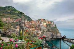 Coastal town Manarola at the Cinque Terre National Park. Liguria Royalty Free Stock Photos