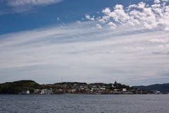 Coastal town. In Norway shot from sea Stock Photography