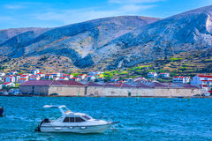 Coastal town Pag in Croatia. Seafront view at coastal town Pag in northern Dalmatia, tourist summer resort in Croatia, Europe Royalty Free Stock Photos