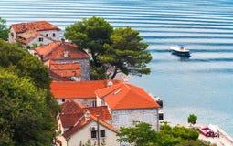 Coastal town Perast landscape, Bay of Kotor Royalty Free Stock Photography
