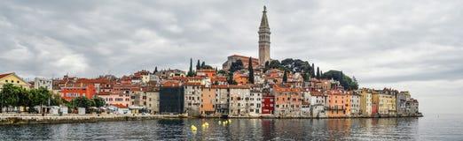 Coastal town of Rovinj, Istria, Croatia. Rovinj - beautiful antique city, yachts and Adriatic Sea. Panorama. Rovinj, Croatia - May 22, 2018: Panorama of Coastal royalty free stock image