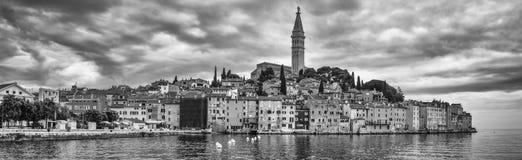 Coastal town of Rovinj, Istria, Croatia. Rovinj - beautiful antique city, yachts and Adriatic Sea. Panorama. Rovinj, Croatia - May 22, 2018: Panorama of Coastal stock image