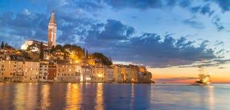 Coastal town of Rovinj, Istria, Croatia in sunset. Stock Photo