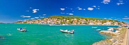 Coastal town of Tisno panorama Stock Images