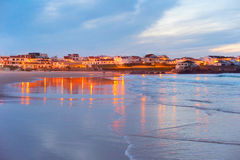 Coastal town at twilight. Portugal Royalty Free Stock Photography