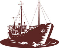 Coastal trader fishing boat. Illustration of a Coastal trader boat done in woodcut style royalty free illustration