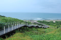 Coastal trail of Cape Fukuei, Taiwan. Cape Fukuei is the northernmost point of Taiwan, and there is a beautiful coastal trail that you can take a walk Stock Image