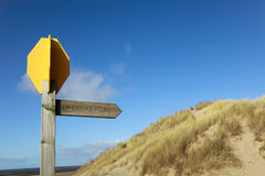 Coastal Trail Route Marker. Coastal route and fingerpost at Formby Point, Sefton Coast Merseyside part of a proposed national trail. Formby Point is located Royalty Free Stock Images