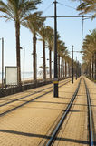 Coastal tram track Royalty Free Stock Photos