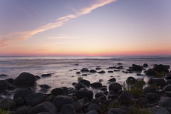 Coastal twilight scene. Southern of Sweden. Royalty Free Stock Photo
