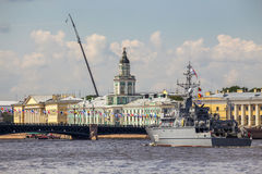 Coastal-type mine sweeper Alexander Obukhov on rehearsal of the naval parade on the day of the Russian Fleet in St. Petersburg Royalty Free Stock Photo