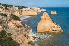 Coastal view at Algarve, Portugal Royalty Free Stock Photos