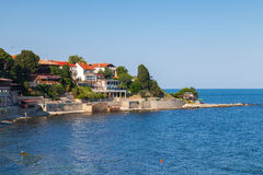 Coastal view of ancient town Nesebar, Bulgaria Royalty Free Stock Images