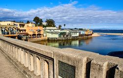 Coastal view of Capitola from the bridge leading to the pier, California stock image