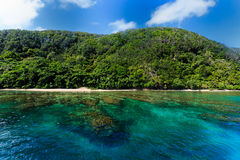 Coastal view of colorful underwater coral reef approaching island beach Royalty Free Stock Images