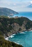 Coastal view of famous travel landmark destinations Corniglia and Manarola, small mediterranean old sea town, Cinque Stock Photo