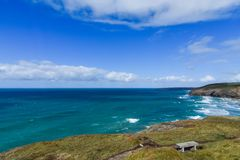 Coastal View from Mawgan Porth. To Watergate Bay in Newquay. Cornwall, England royalty free stock photos