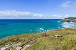 Coastal View from Mawgan Porth. To Watergate Bay in Newquay. Cornwall, England royalty free stock image