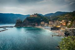 Wide angle view of Monterosso, Italy Stock Image