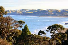 Coastal view, New Zealand. View looking north towards the mouth of Raglan Harbour, North Island, New Zealand Royalty Free Stock Photography