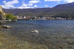 Coastal view of Ohrid, Macedonia. Ohrid, Macedonia - April 8, 2017: Coastal view of Ohrid, a small city by the Lake Ohrid in southwest of FYR Macedonia. Swans on Royalty Free Stock Images