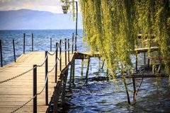 Coastal view of Ohrid, Macedonia. Coastal scene from Ohrid and the Lake Ohrid, southeast of FYR Macedonia Royalty Free Stock Images