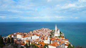 Coastal view of Piran, Slovenia stock footage