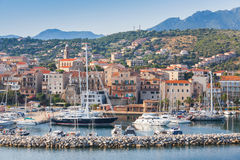 Coastal view of Propriano with sailing yachts. Coastal landscape of Propriano with sailing yachts and motor boats, South region of Corsica island, France Stock Image