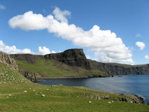 Coastal view Scotland (skye). A dramatic view of the west coast - towards Waterstein Head and Moonen Bay - , seen from Neist Point, the extreme North-Western tip royalty free stock image