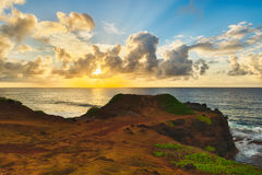 Coastal view at sunrise. Panorama Stock Images