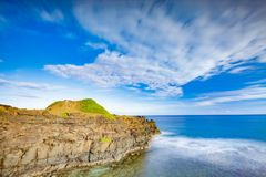 Coastal view. Timelapse. Coastal view at sunrise. Timelapse. Mauritius Stock Image