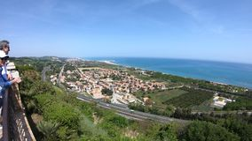 Coastal view from Torre di Palme, Fermo county, Marche region, Italy stock video