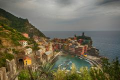 Aerial view of Vernazza, Italy Royalty Free Stock Photos
