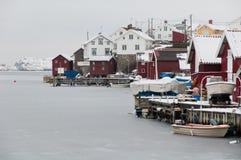 Coastal village. Typical small swedish west coast fishing village. Gullholmen, Bohuslan, Sweden stock photo