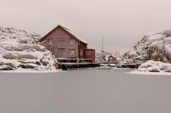 Coastal village. Typical small swedish west coast fishing village. Skarhamn, Bohuslan, Sweden stock photos