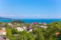 Coastal village aerial view village town sea Stock Photography