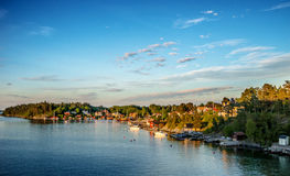 Coastal village at evening (Kopmanholm, Sweden) Royalty Free Stock Photography