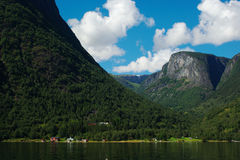 Coastal Village in the Naeroyfjord Stock Photo