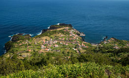 Coastal village on Sao Jorge Royalty Free Stock Photos