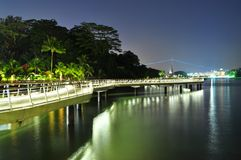 A coastal walkway by night with reflection Stock Photos