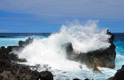 Coastal waves on rocks Royalty Free Stock Image