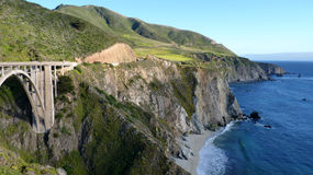Coastal way in California. Coastal scenery in California with the bridge Royalty Free Stock Image