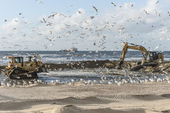 Coastal works Katwijk Stock Photos