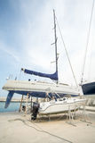 Coastal yacht parking on the new pier Sarafovo in Bourgas, Bulgaria Royalty Free Stock Photography