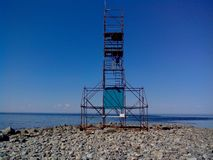 The coastal zone of the White sea at Cape Beluga, watching tower blagami, Solovetsky Islands, Arkhangelsk oblast, Russia stock photos