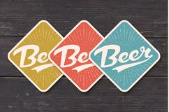 Coaster for beer with hand drawn lettering Beer royalty free illustration