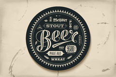 Coaster for beer with hand drawn lettering Stock Photography