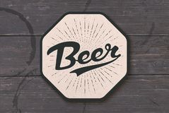Coaster for beer with hand drawn lettering Beer vector illustration
