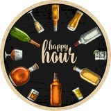 Coaster with bottle and glass with beer, whiskey, tequila, cognac, rum. Vintage  engraving illustration. Advertising design for pub on dark background Stock Images