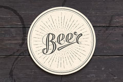 Coaster with hand drawn lettering Beer Royalty Free Stock Images